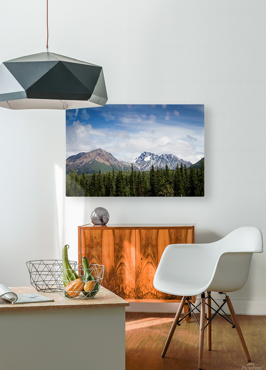 Photos Alaska Mountains  HD Metal print with Floating Frame on Back