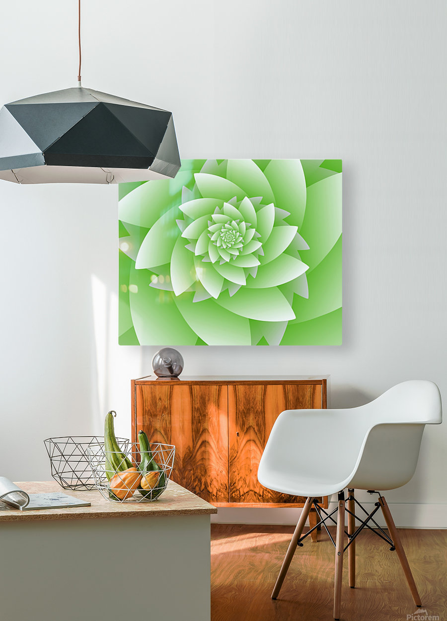 Greeny Floral  HD Metal print with Floating Frame on Back