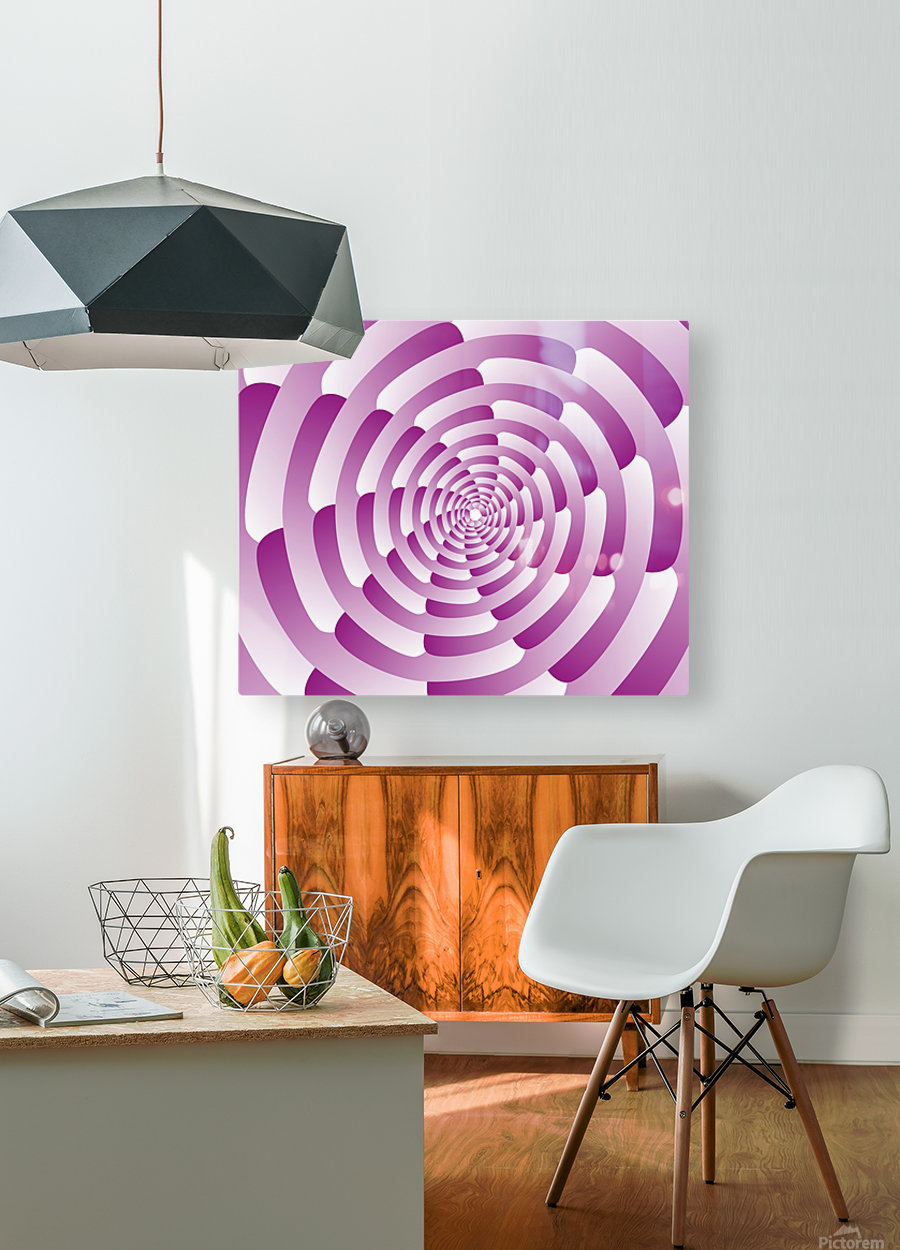 Abstract Pink Spiral Art   HD Metal print with Floating Frame on Back
