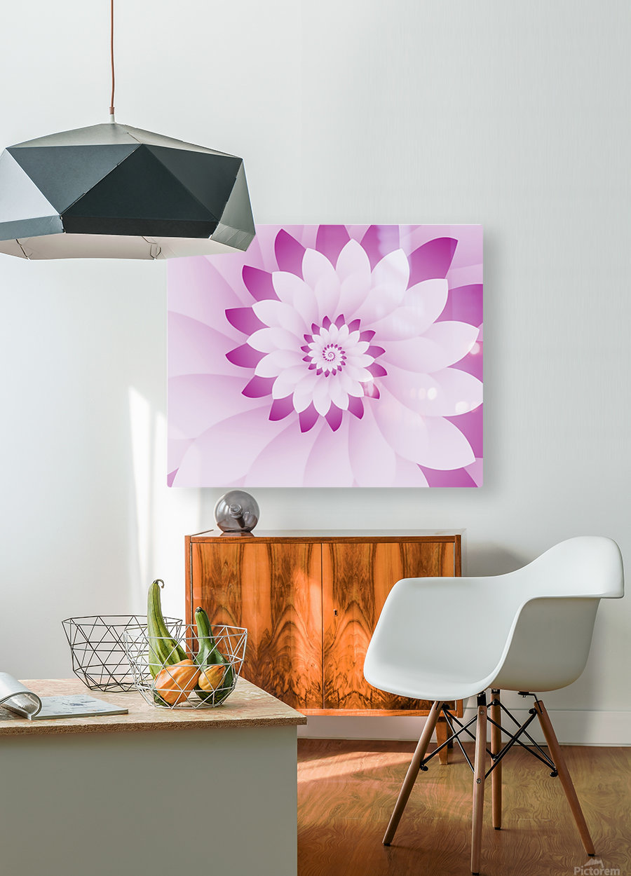 Abstract Pink & White Floral Design Art  HD Metal print with Floating Frame on Back