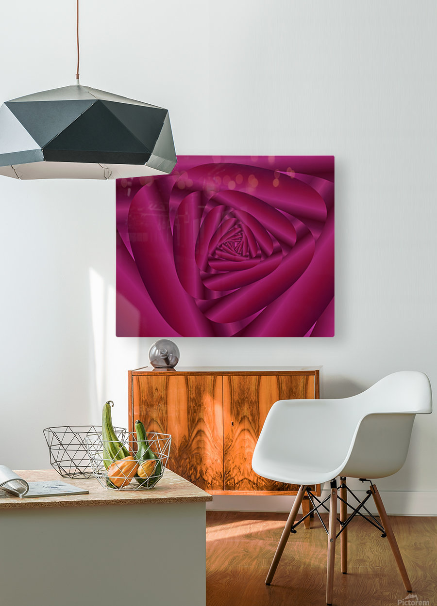 Pink Color Rose Swirl Art  HD Metal print with Floating Frame on Back