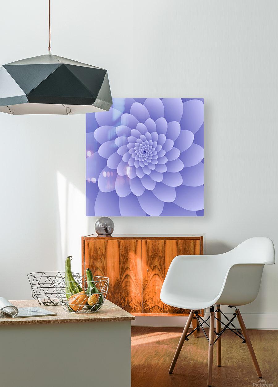 3D Modern Purple  Floral Art  HD Metal print with Floating Frame on Back
