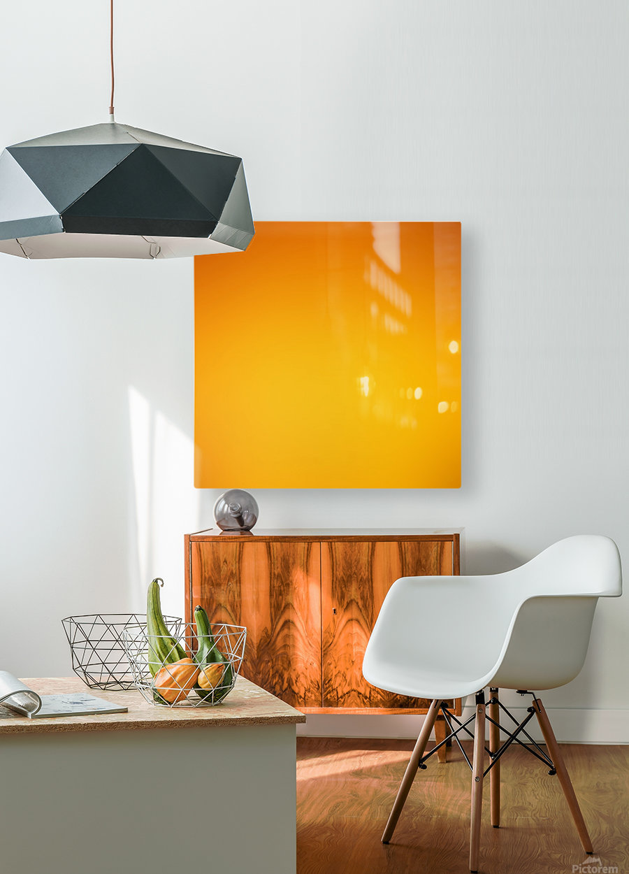 Orange Gradient Background  HD Metal print with Floating Frame on Back
