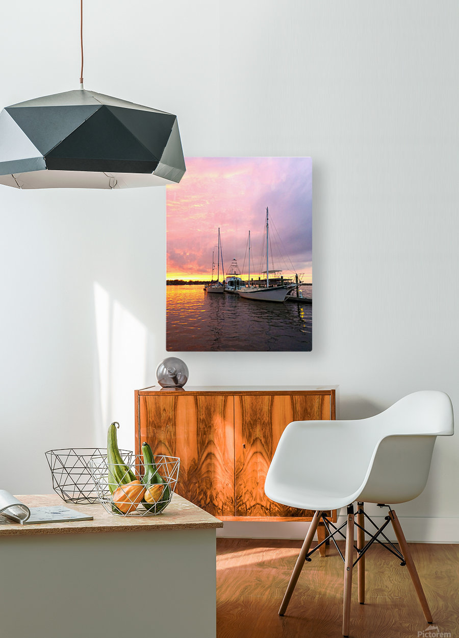 Sunset Sailboat  HD Metal print with Floating Frame on Back