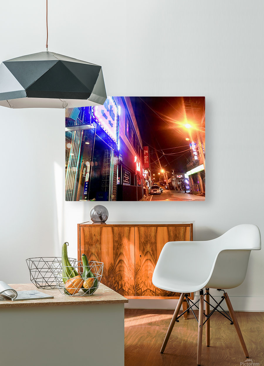 Korean Street at Night  HD Metal print with Floating Frame on Back