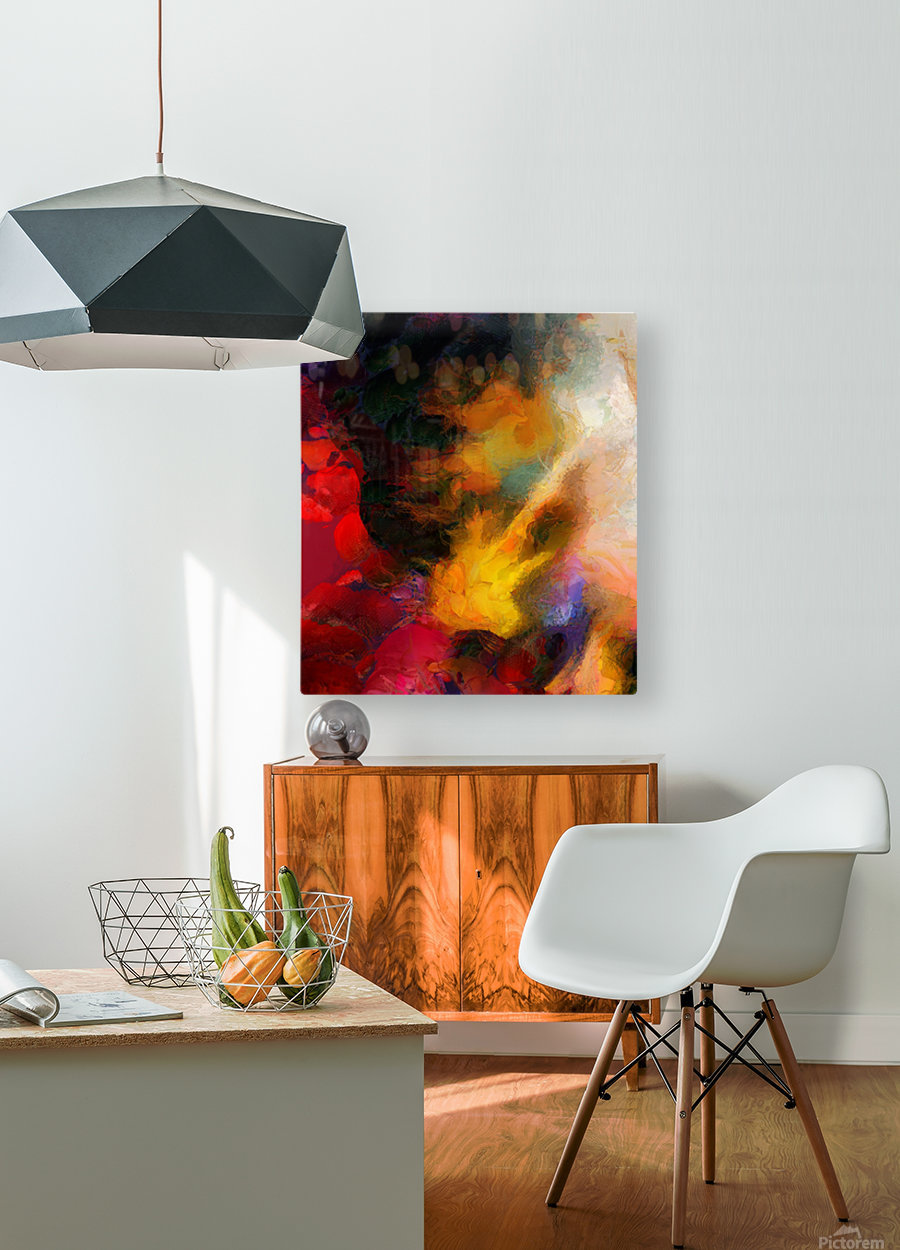 Colorful oil on canvas  HD Metal print with Floating Frame on Back