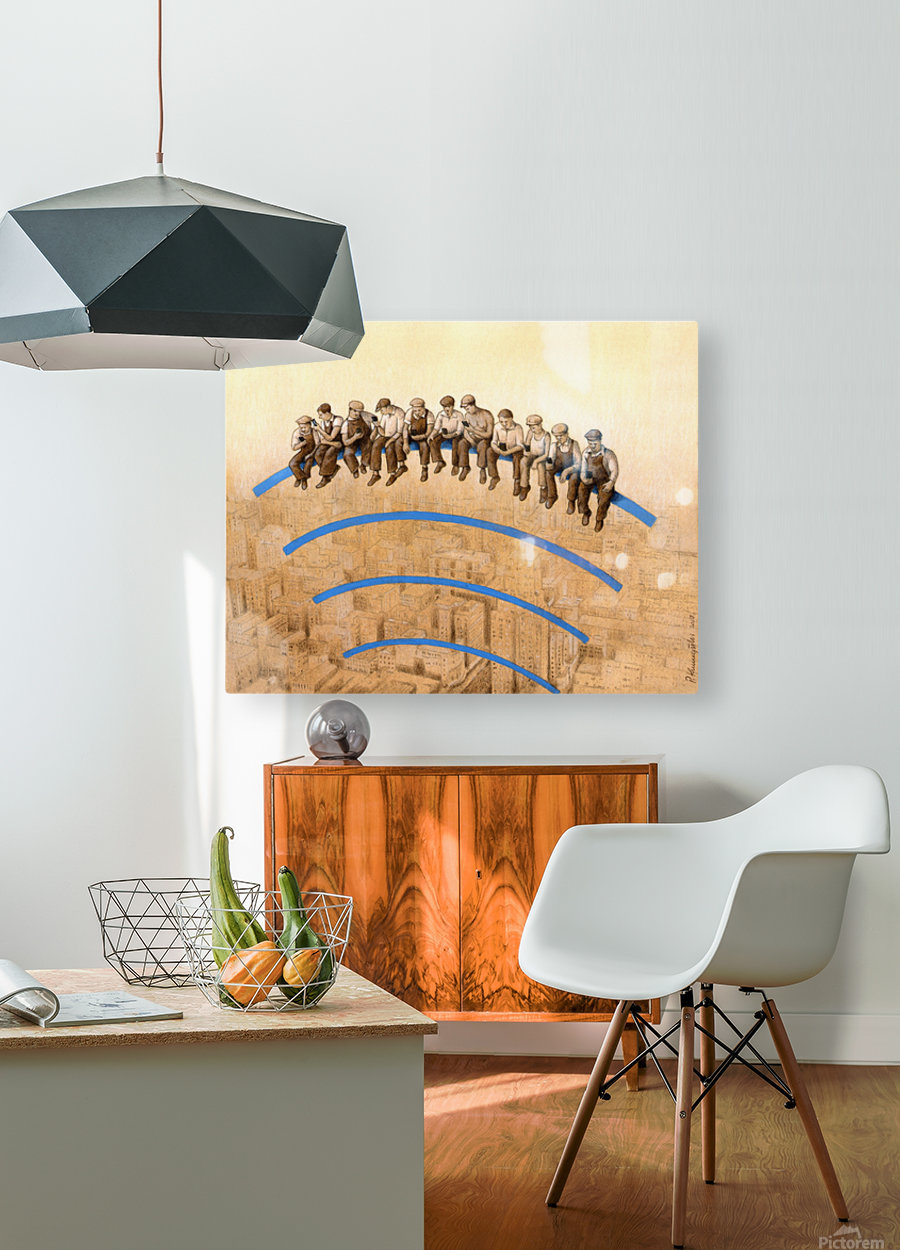 workers  HD Metal print with Floating Frame on Back
