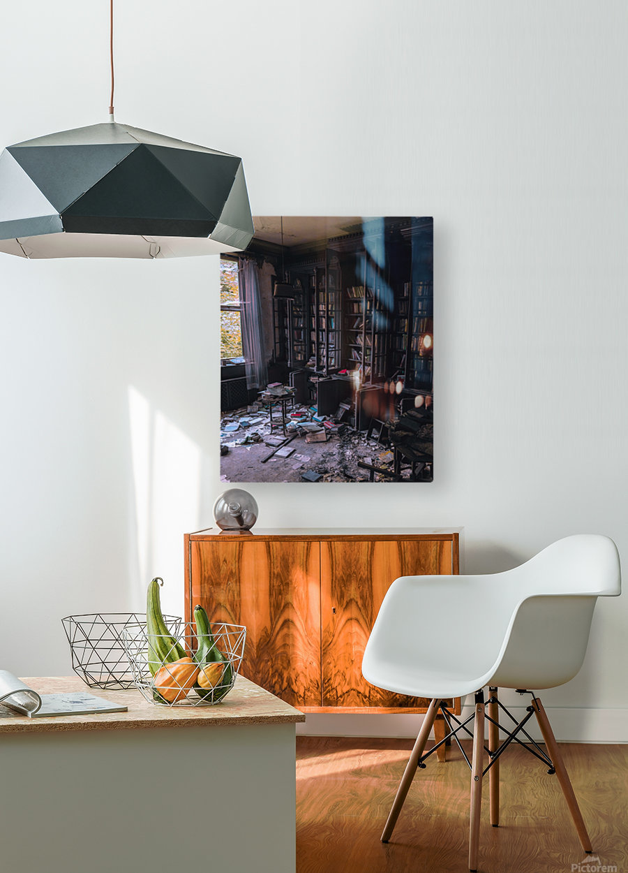 Abandoned Mansion Library  HD Metal print with Floating Frame on Back