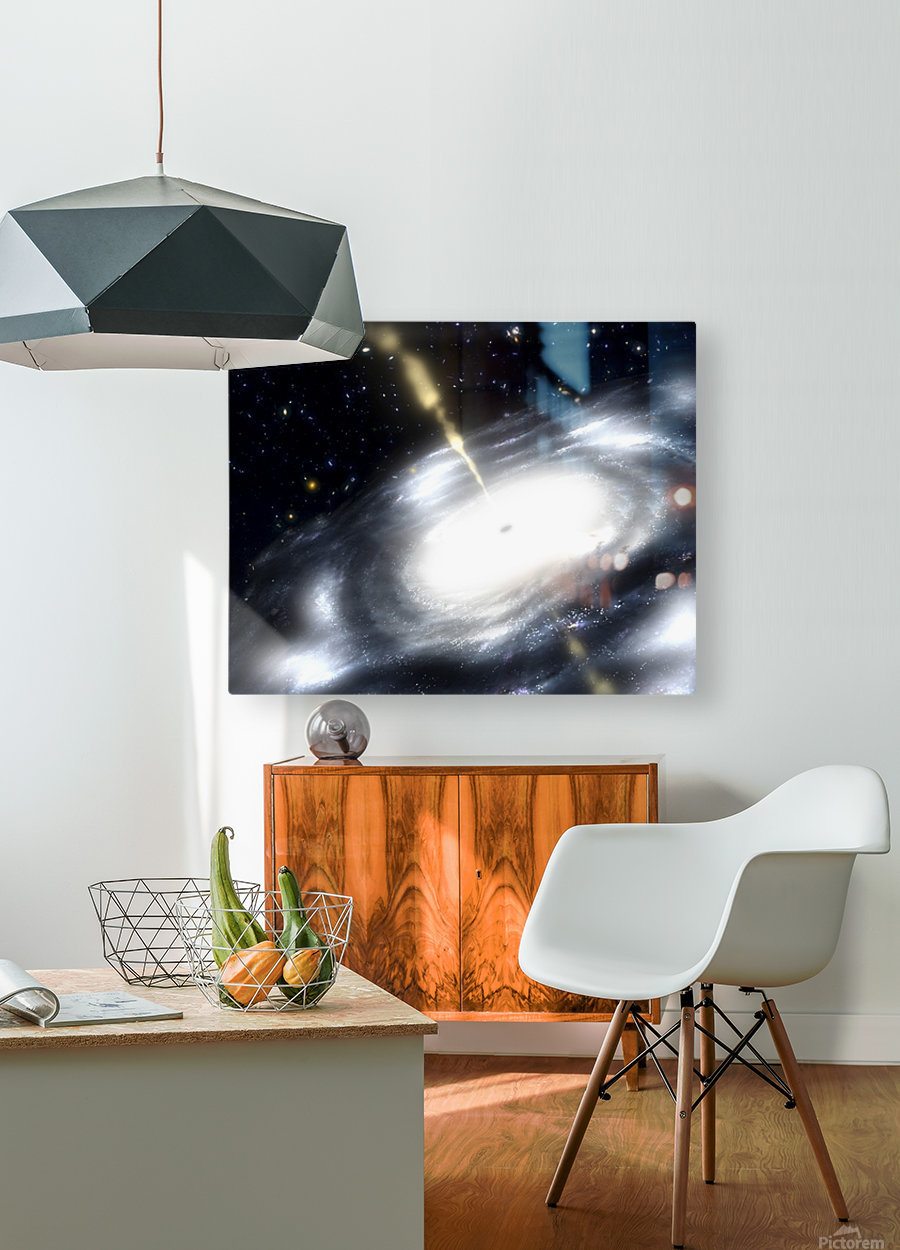 A rare galaxy that is extremely dusty and produces radio jets  HD Metal print with Floating Frame on Back