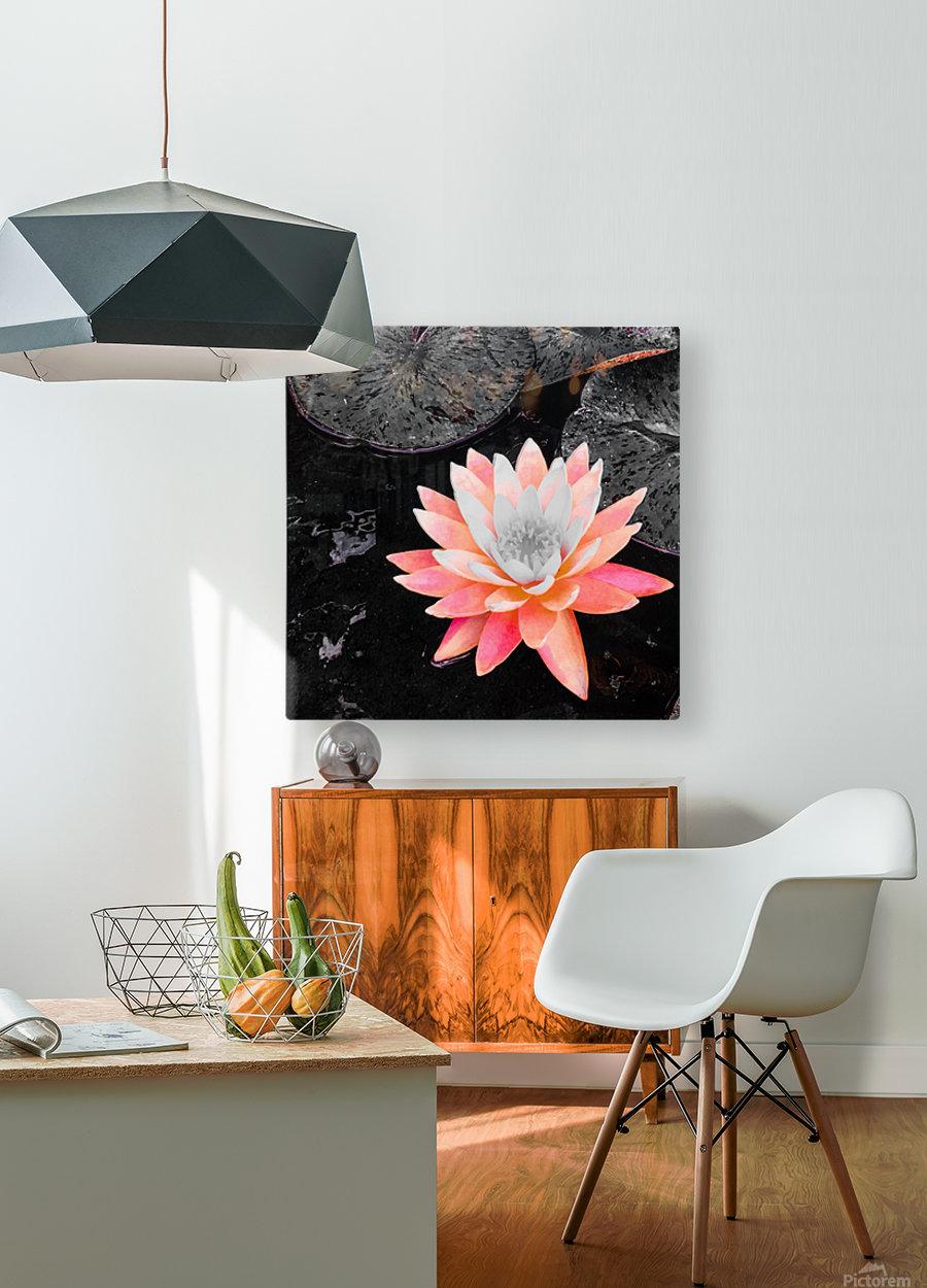 Lotus  Impression métal HD avec cadre flottant sur le dos