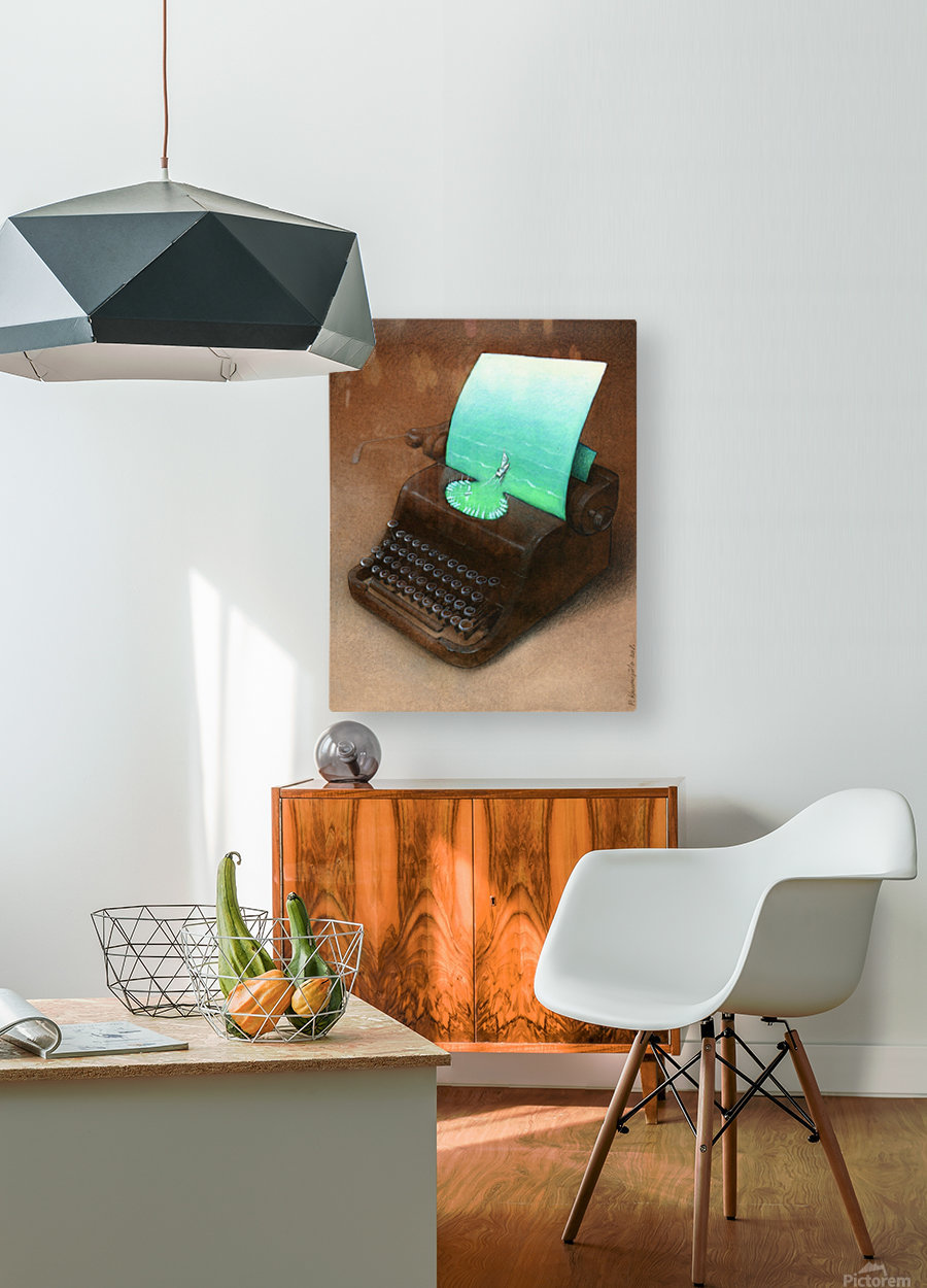 typewriter  HD Metal print with Floating Frame on Back