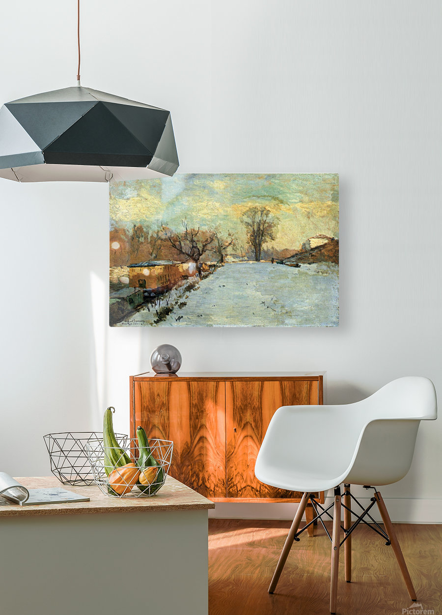 The Seine in Winter  HD Metal print with Floating Frame on Back