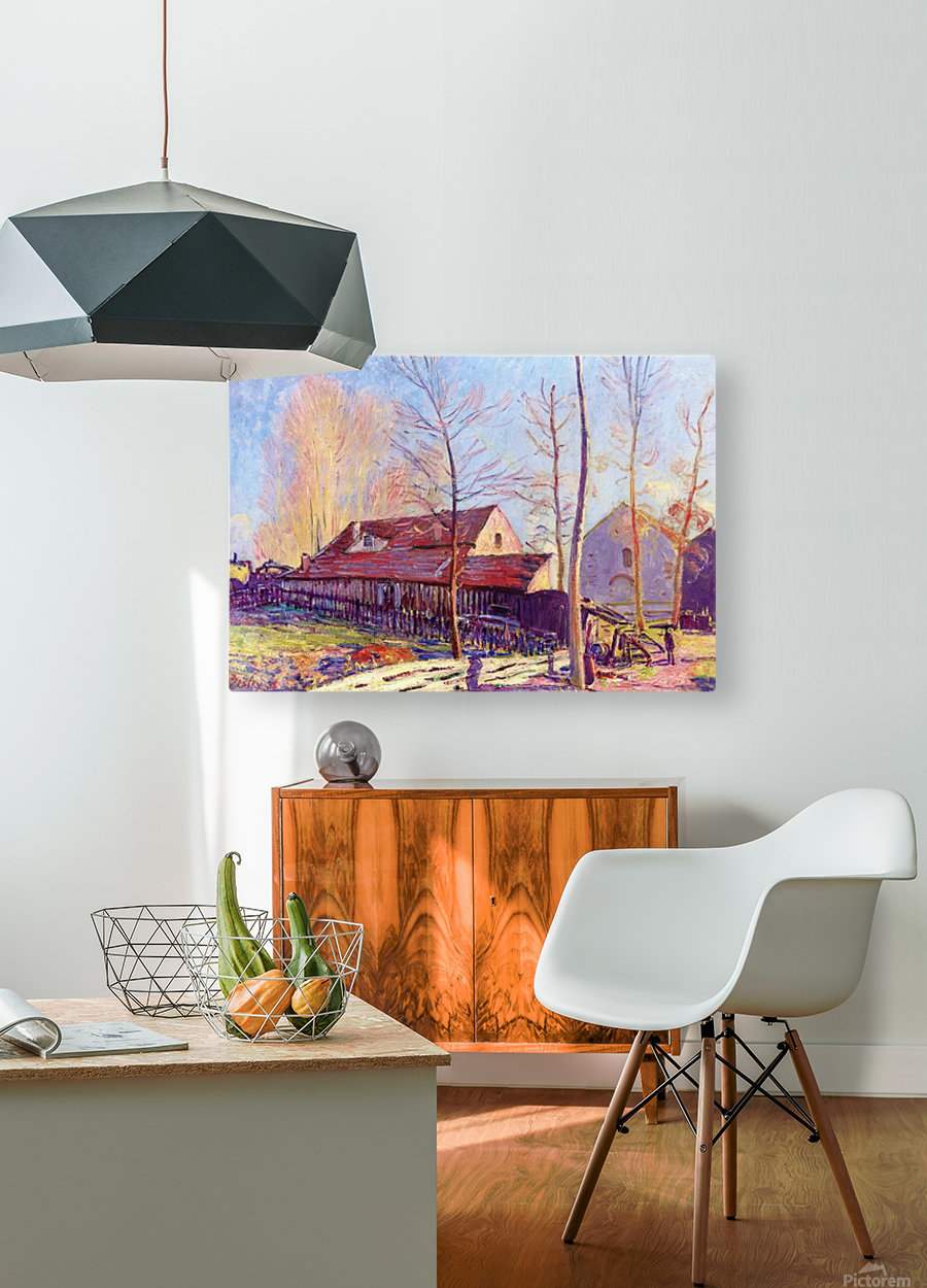 The Mills of Moret, Frost, Evening Effect  HD Metal print with Floating Frame on Back