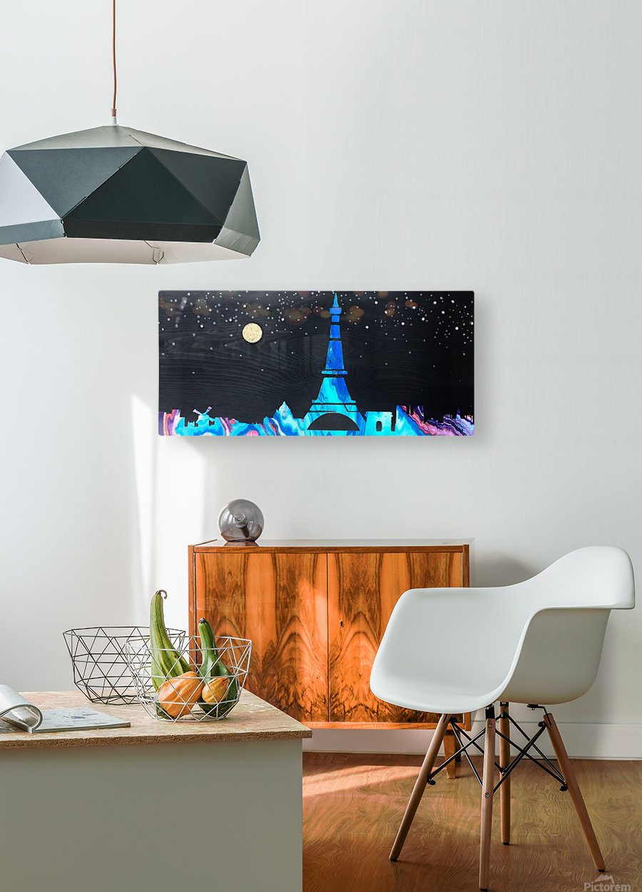 I love Paris on Wood 2  HD Metal print with Floating Frame on Back