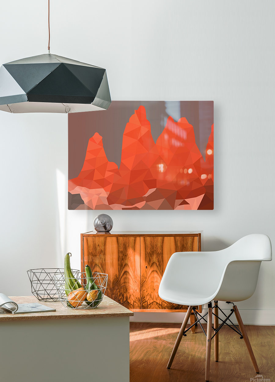 Torres del Paine National Park Low Poly Art   HD Metal print with Floating Frame on Back