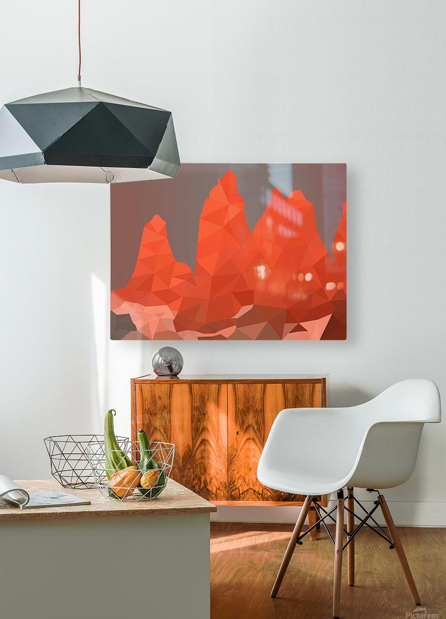 Torres del Paine National Park Low Poly Art   Impression métal HD avec cadre flottant sur le dos