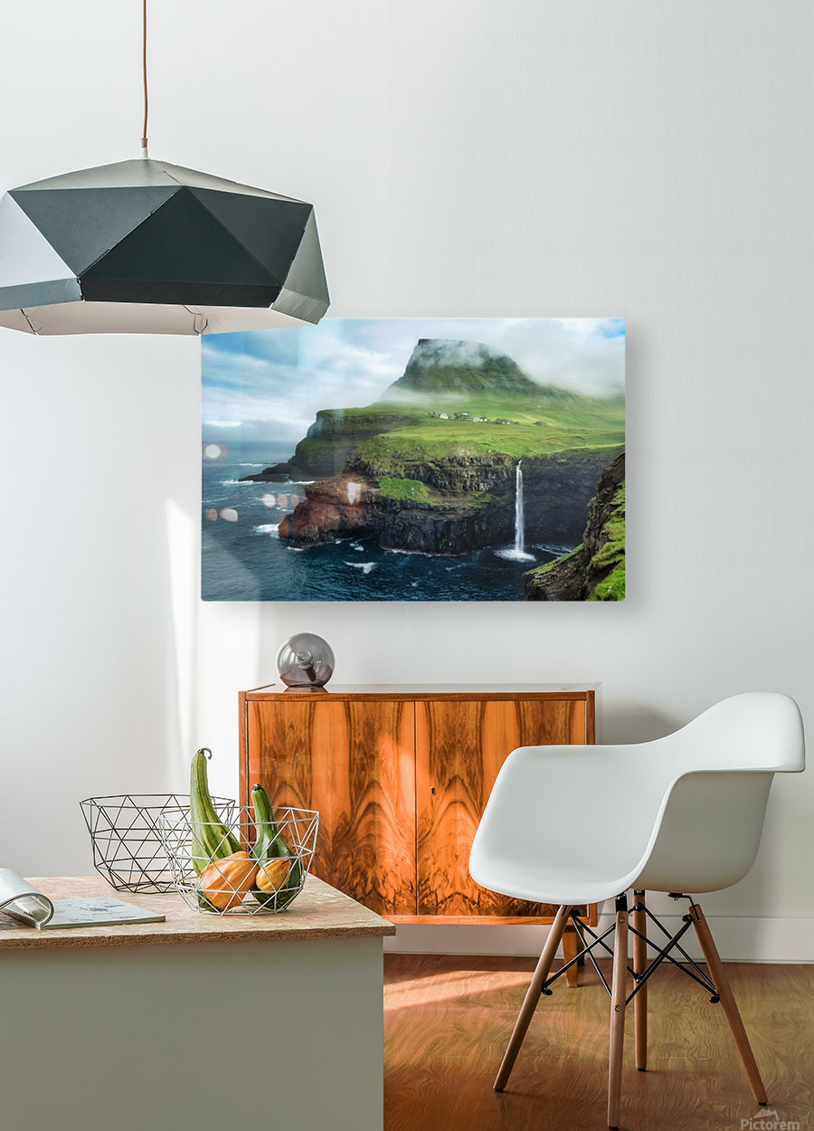 Múlafossur Waterfall  HD Metal print with Floating Frame on Back