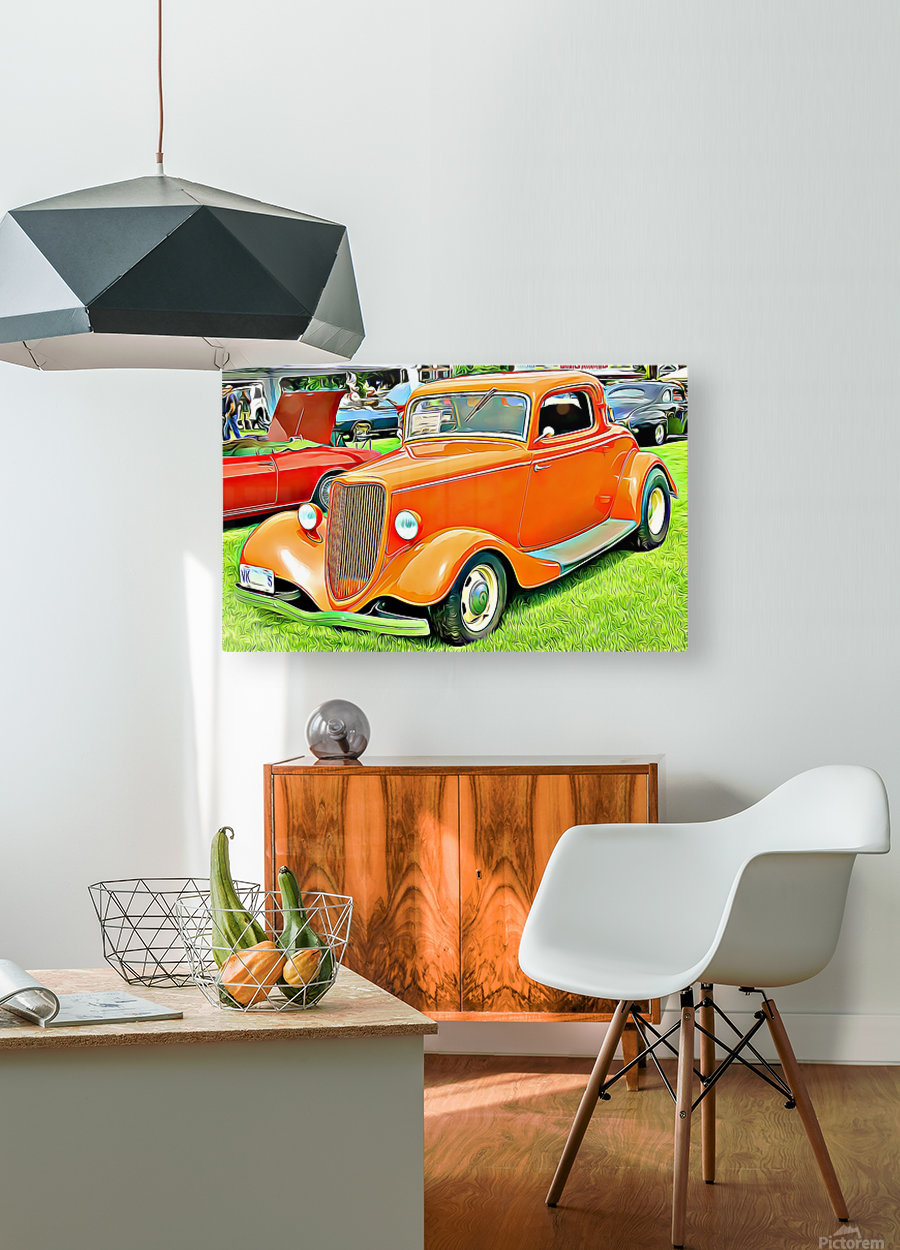 hot rod classic car   HD Metal print with Floating Frame on Back