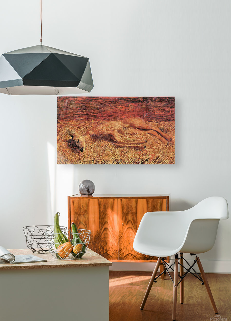Dead deer by Albin Egger-Lienz  HD Metal print with Floating Frame on Back