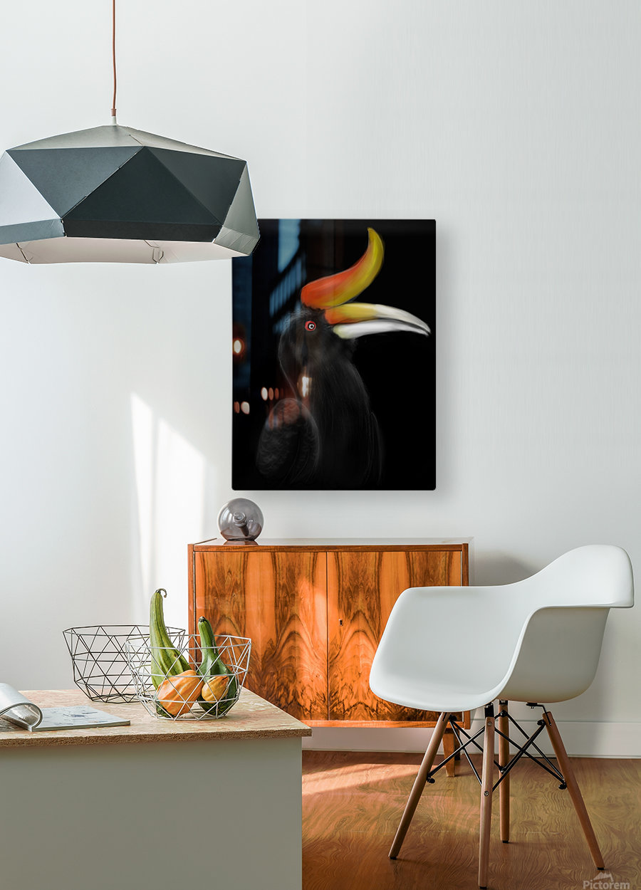 Rhinocerous Hornbill  HD Metal print with Floating Frame on Back