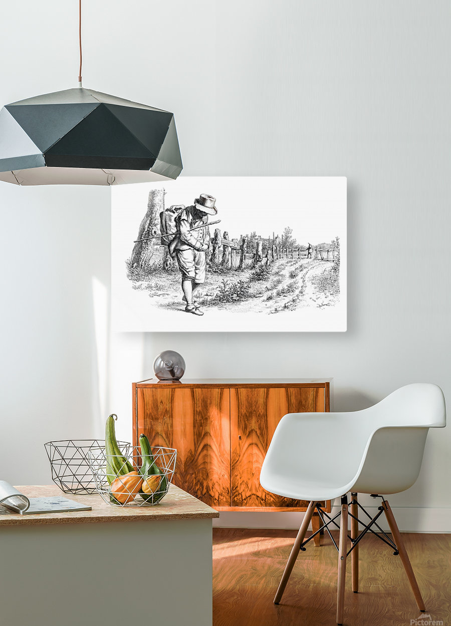Traveler On A Country Road_OSG  HD Metal print with Floating Frame on Back