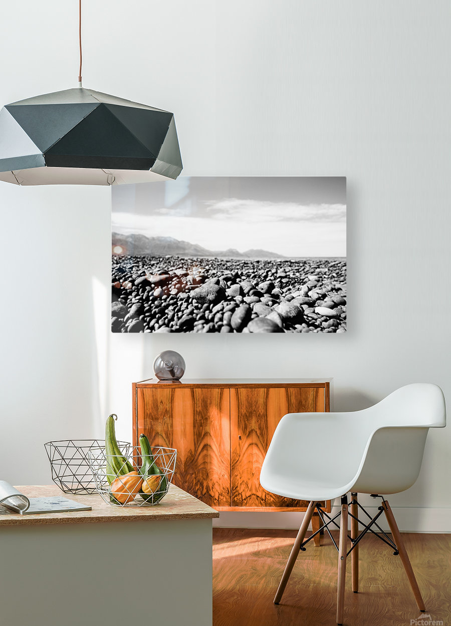 Pebbles on beach  HD Metal print with Floating Frame on Back