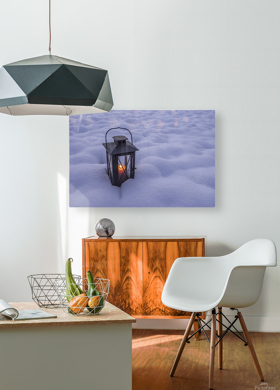 Lantern in the snow  HD Metal print with Floating Frame on Back
