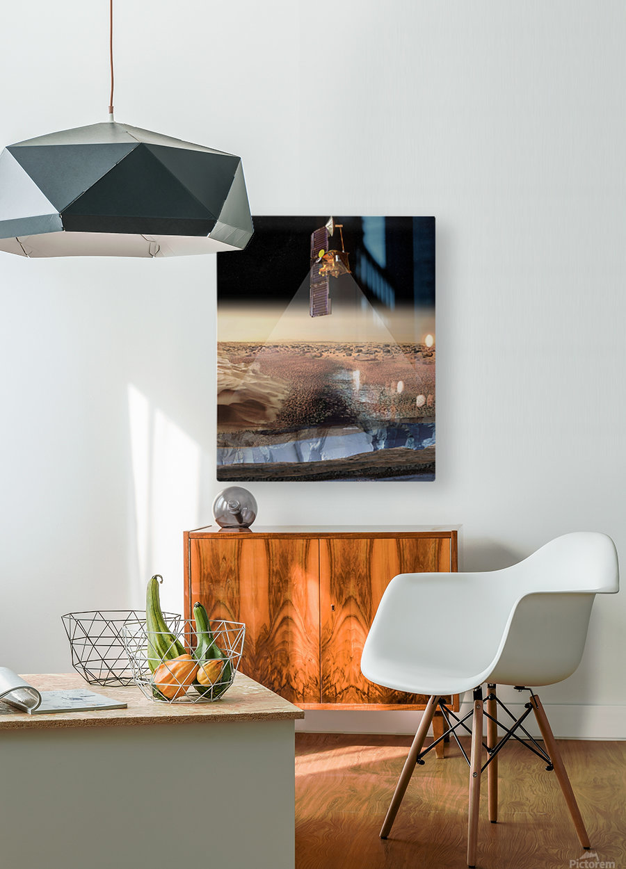 Artists View of Odyssey Detecting Ice.  HD Metal print with Floating Frame on Back