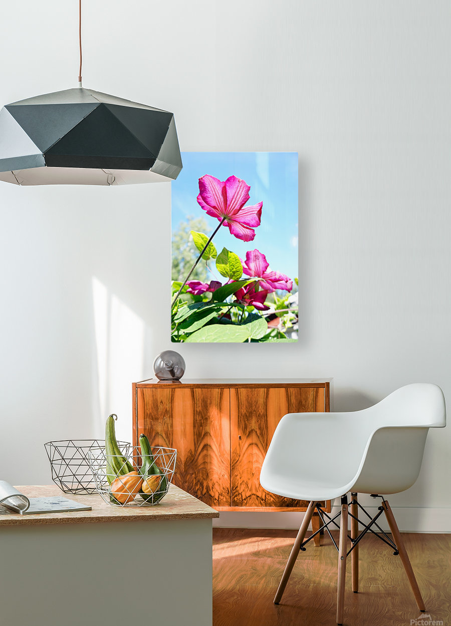 Pink flower and green leaves  HD Metal print with Floating Frame on Back