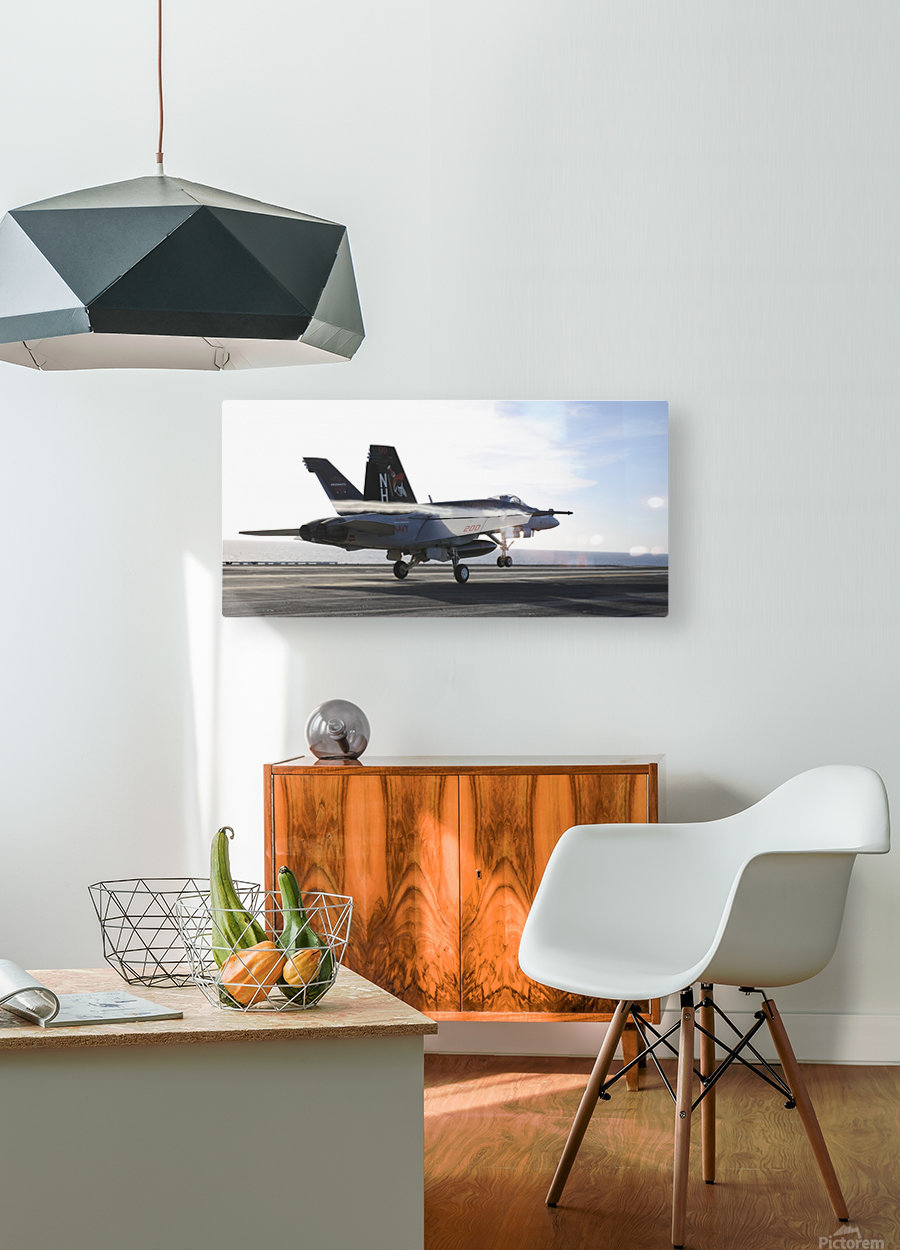 An F-A-18E Super Hornet touches the flight deck of USS Nimitz.  HD Metal print with Floating Frame on Back
