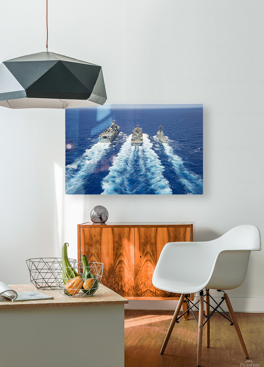 USS Peleliu and USS Spruance conduct a replenishment at sea with USNS Rainier.  HD Metal print with Floating Frame on Back