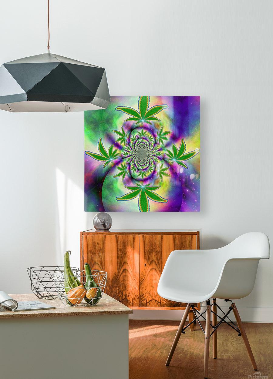 Marijuana Leaf  HD Metal print with Floating Frame on Back