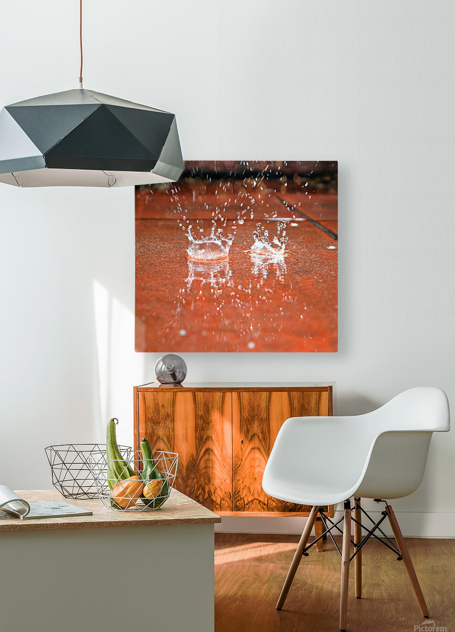 Rain  HD Metal print with Floating Frame on Back