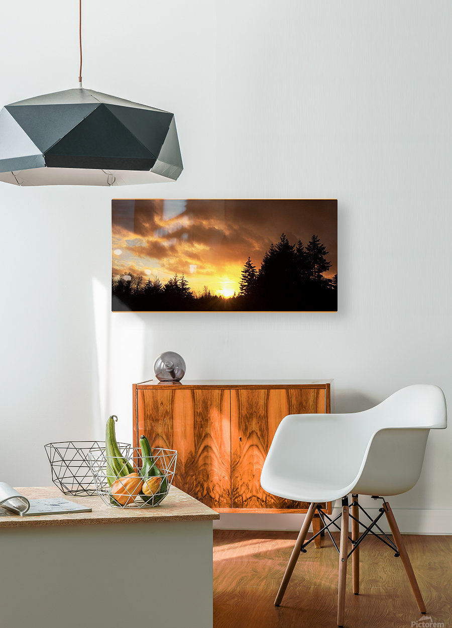 Sour Set  HD Metal print with Floating Frame on Back