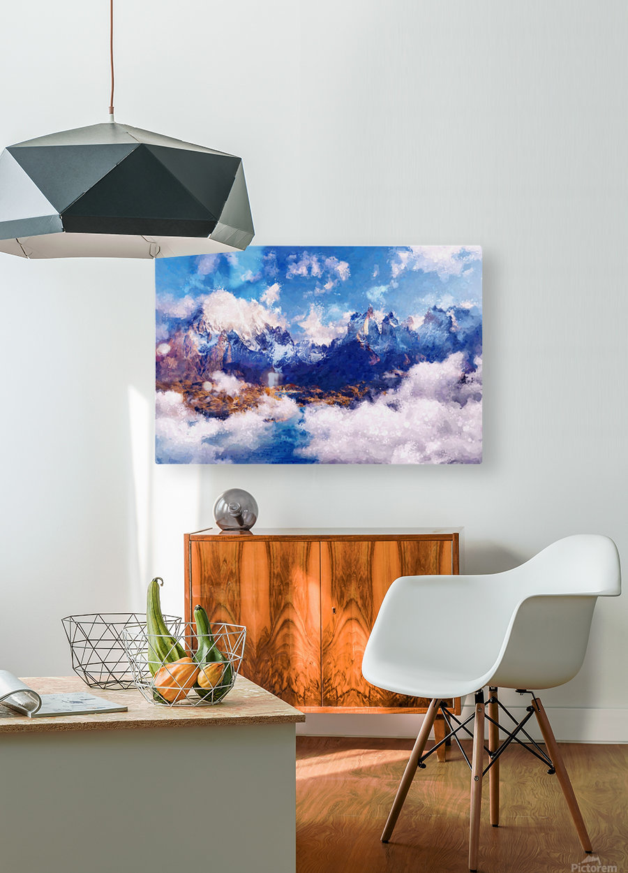 Mountains Artwork II  HD Metal print with Floating Frame on Back