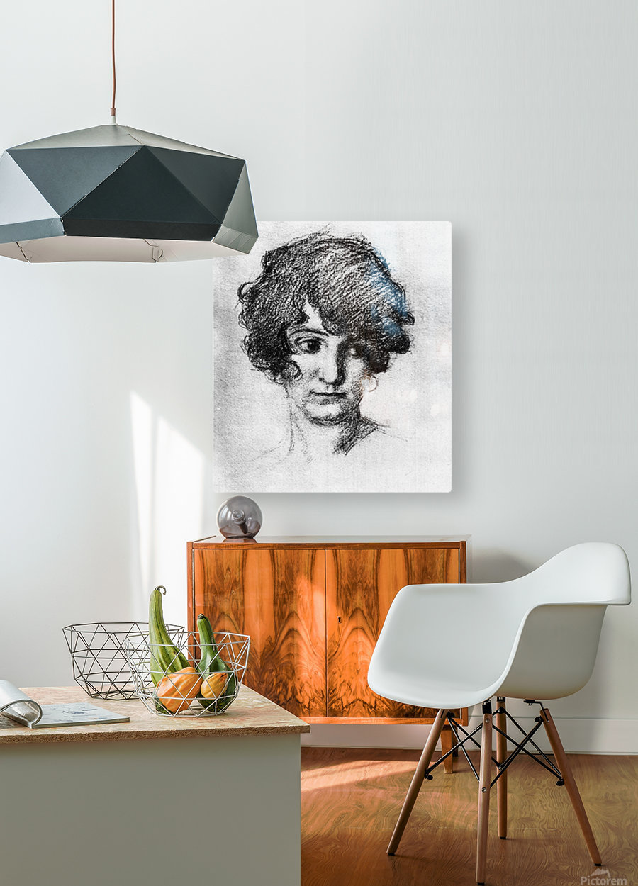 Head of the daughter of the artist, Lorli  by Albin Egger-Lienz  HD Metal print with Floating Frame on Back