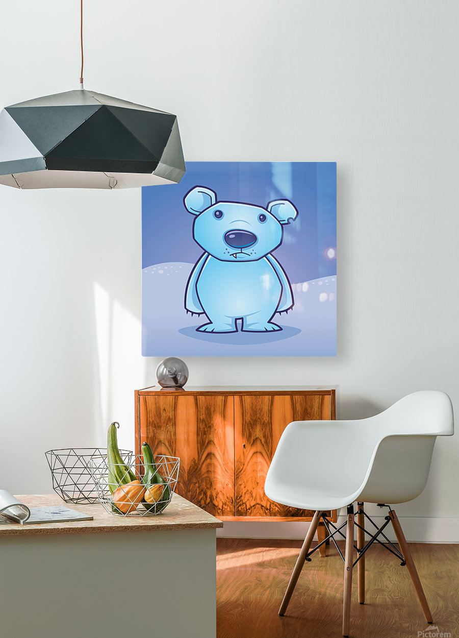Polar Bear Cub  HD Metal print with Floating Frame on Back