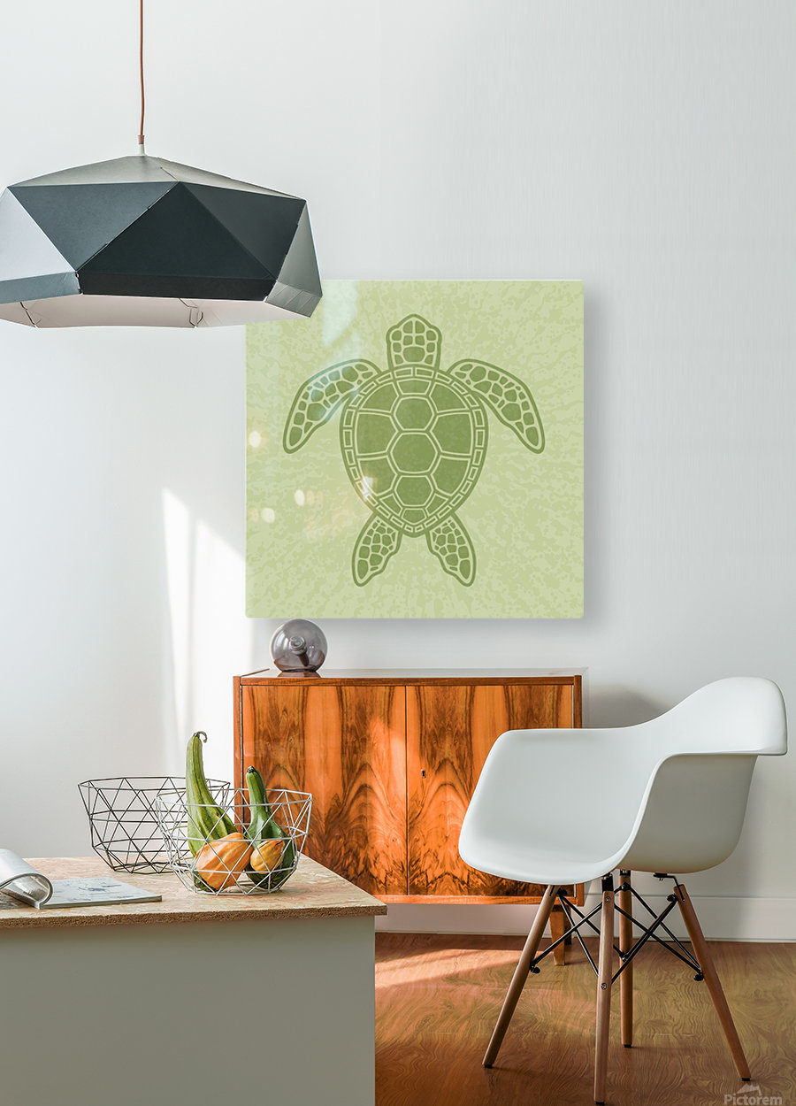 Green Sea Turtle  HD Metal print with Floating Frame on Back