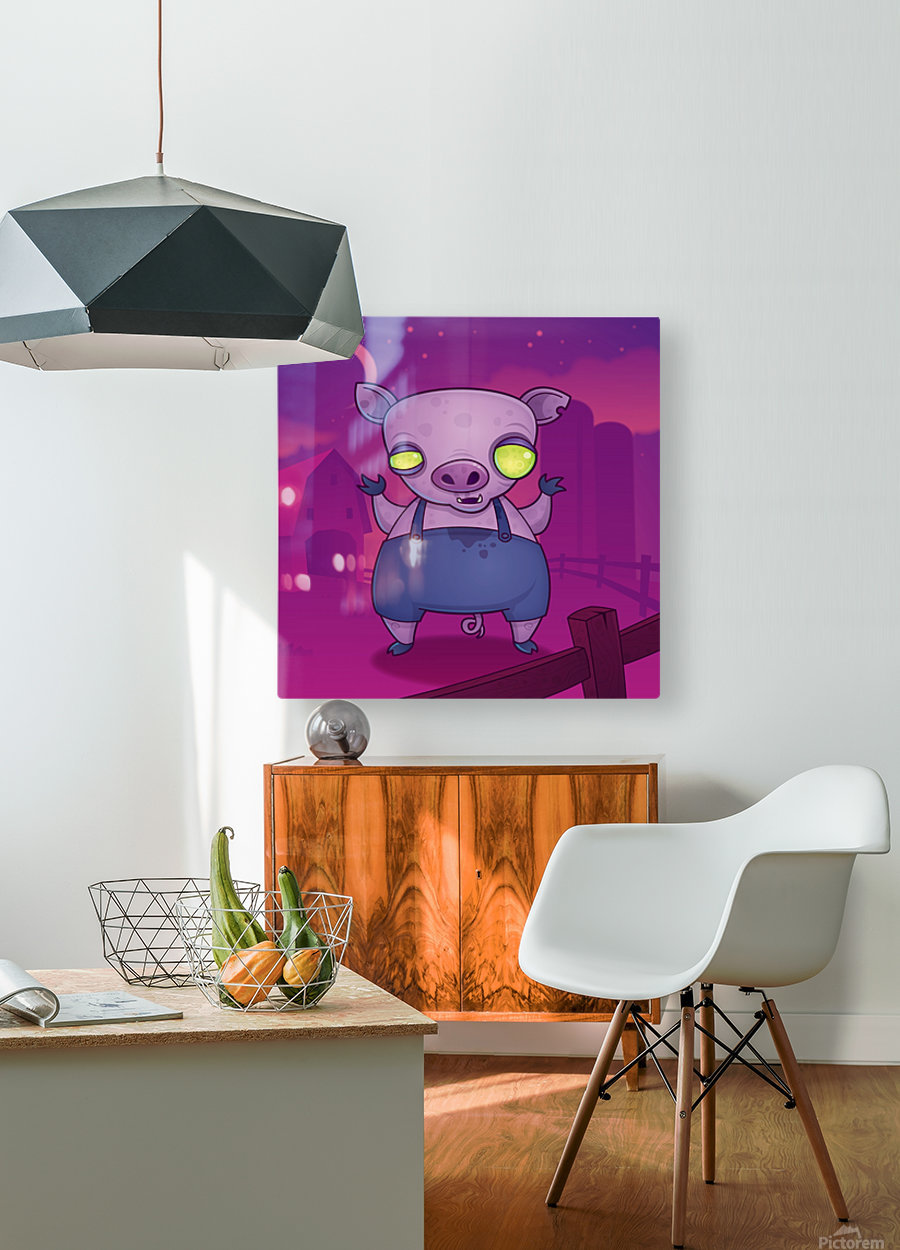 Zombie Pig  HD Metal print with Floating Frame on Back