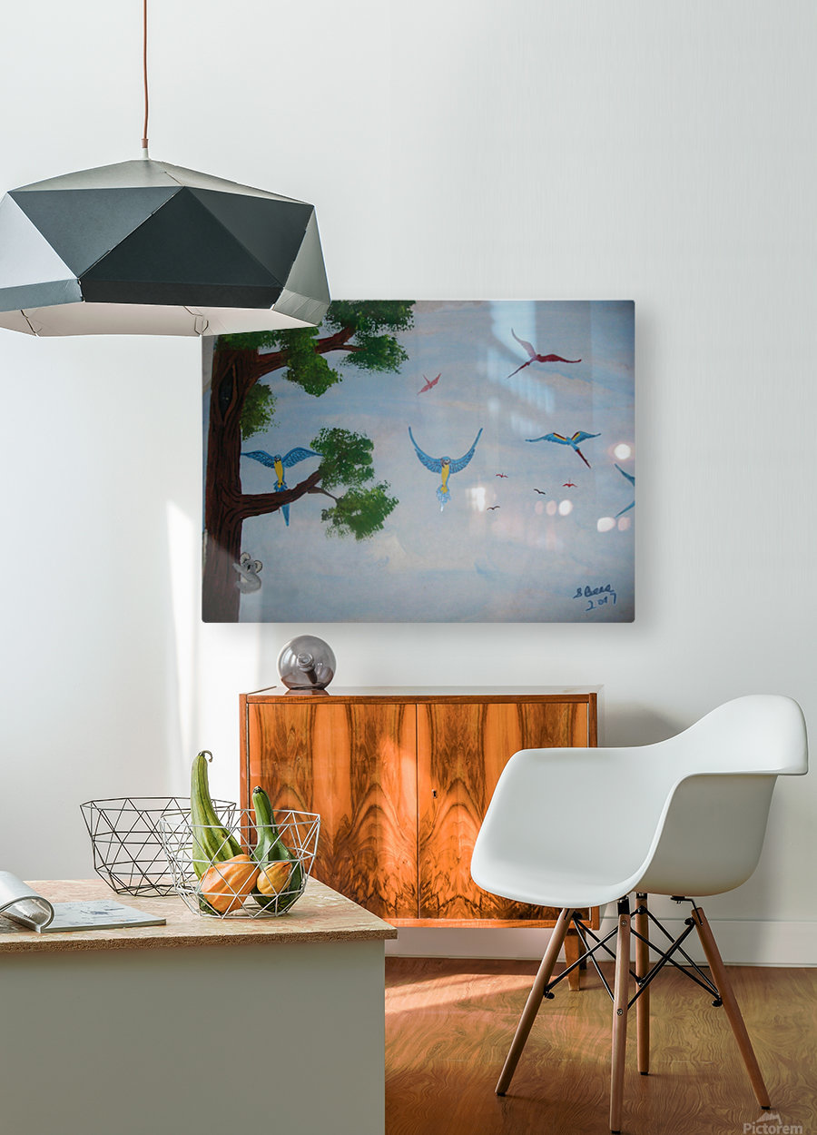 Macaw family  HD Metal print with Floating Frame on Back