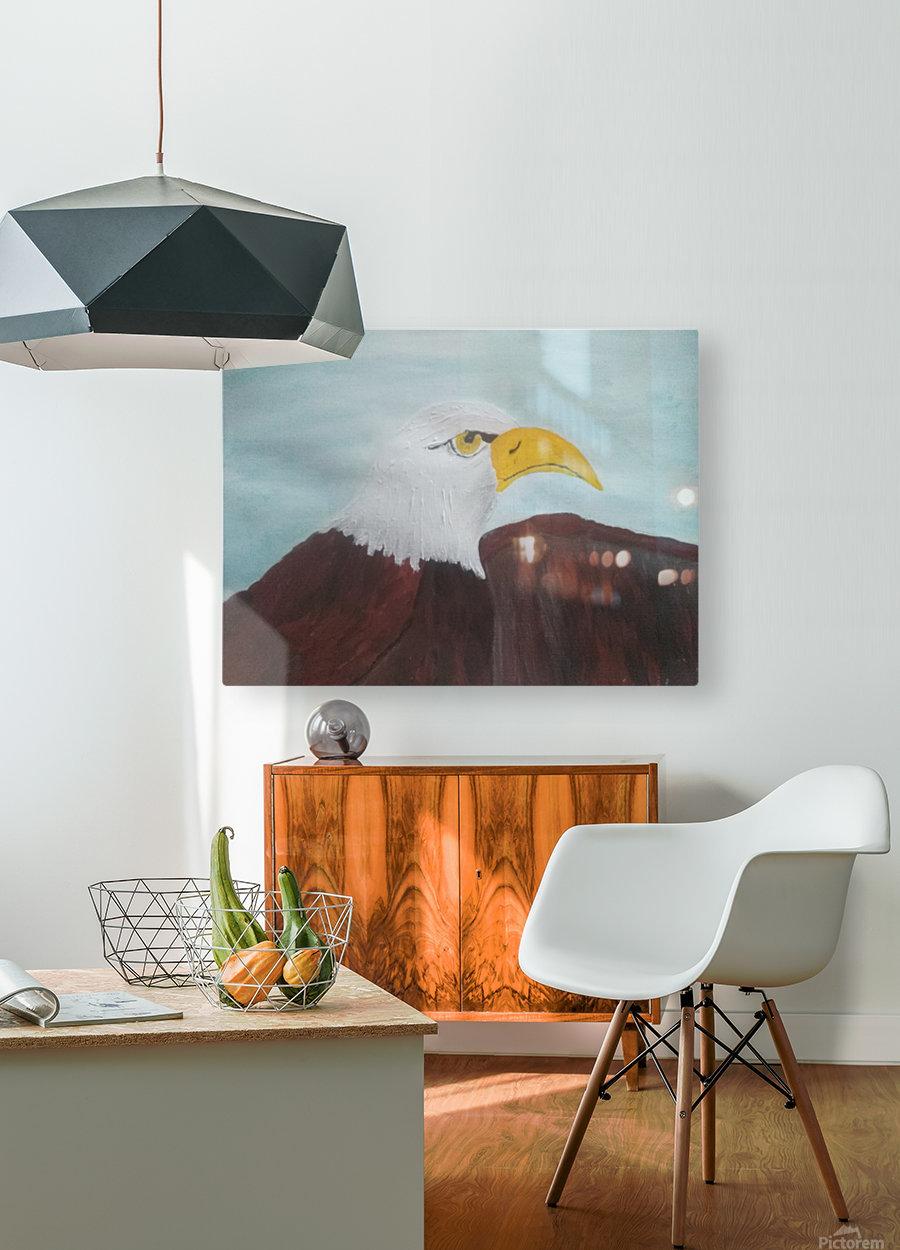 Eagle  HD Metal print with Floating Frame on Back
