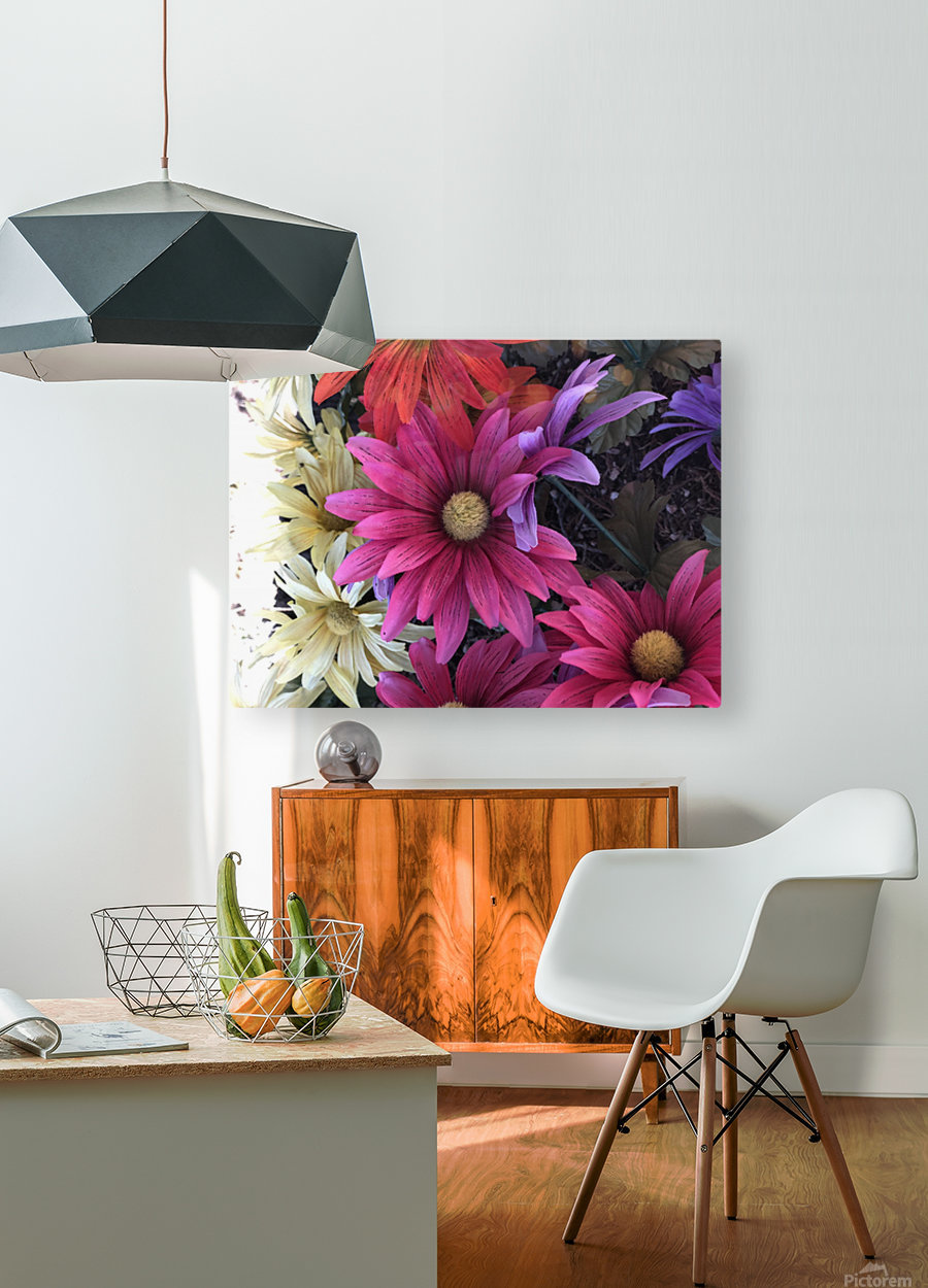 Rainbow of flowers  HD Metal print with Floating Frame on Back