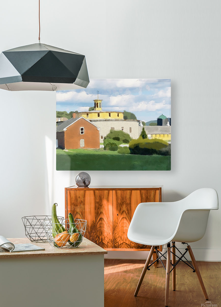 Hancock Shaker Village Round Stone Barn and Brick Poultry House  HD Metal print with Floating Frame on Back