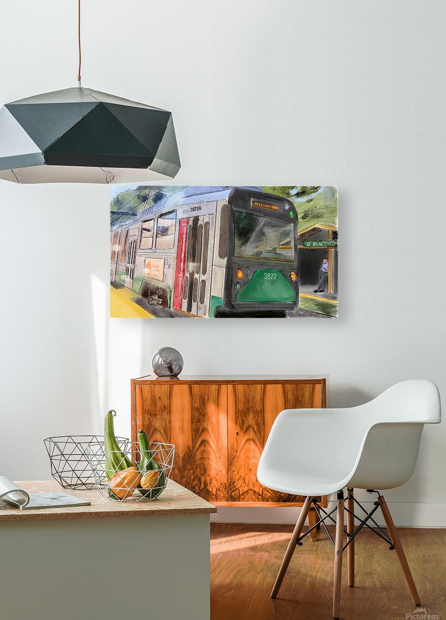 MBTA Green Line Trolly  HD Metal print with Floating Frame on Back