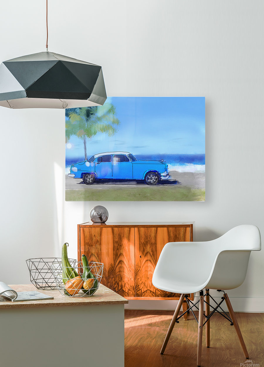Cuba Blue Car  HD Metal print with Floating Frame on Back