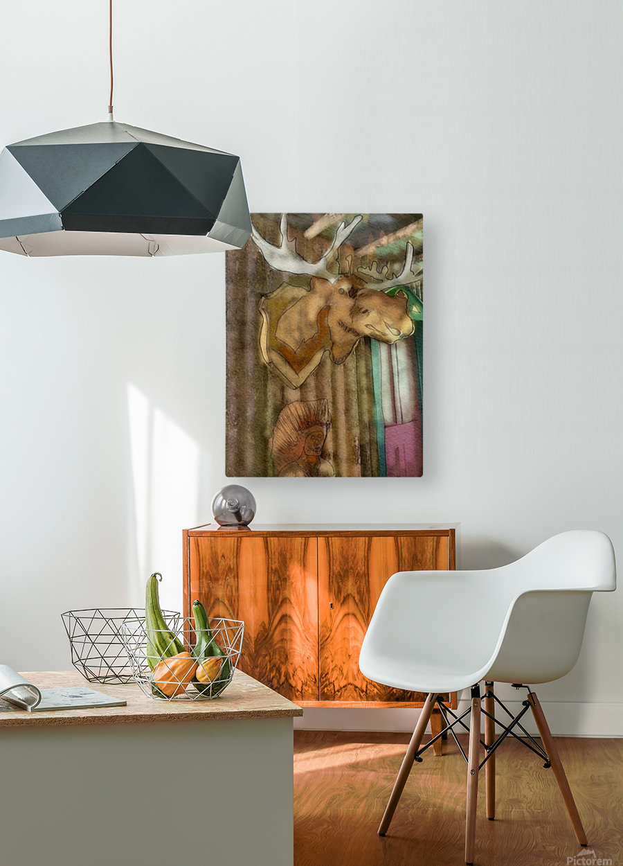 The Hedges Moose Head  HD Metal print with Floating Frame on Back