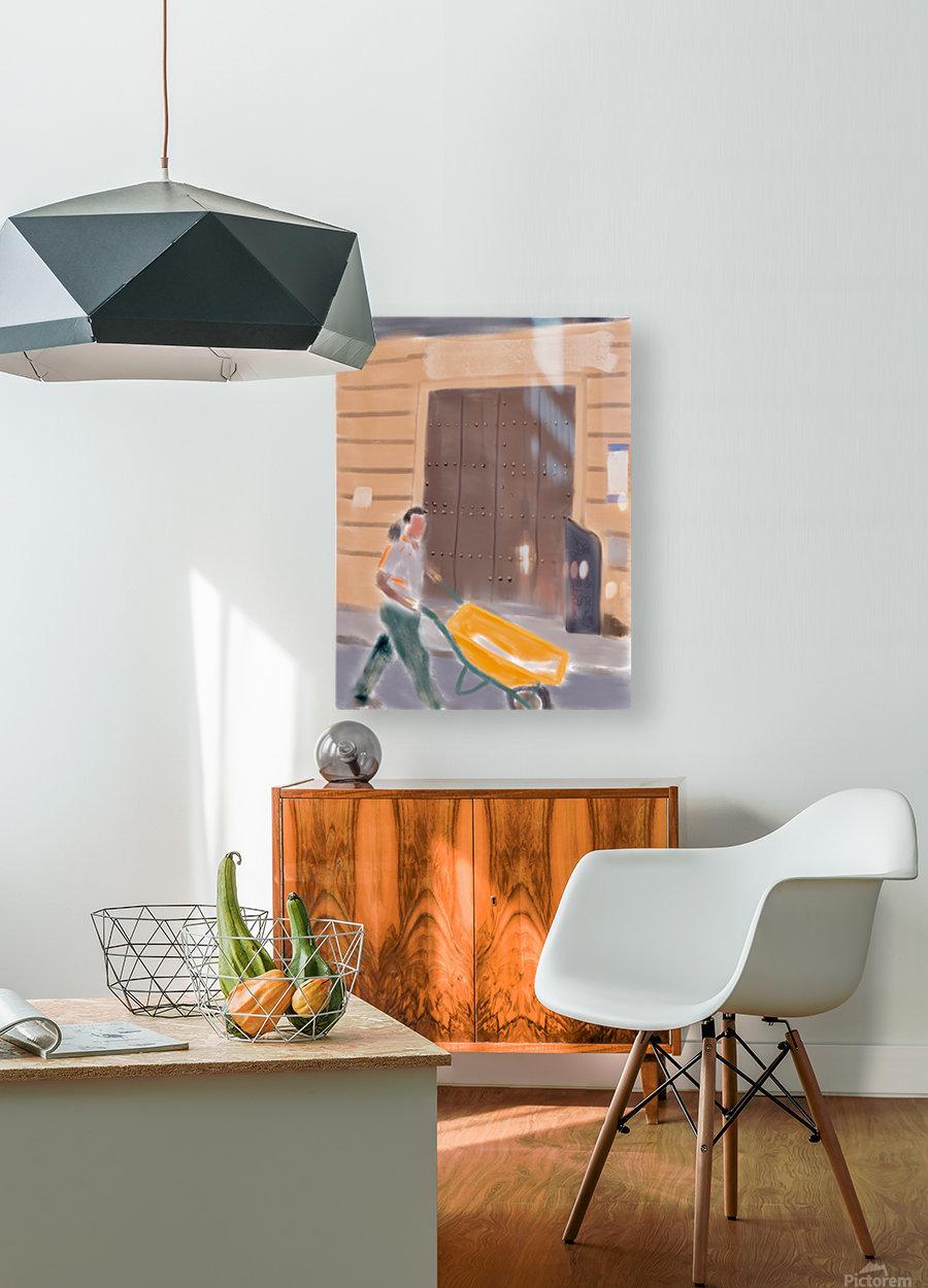 Cuba Wheelbarrow Worker  HD Metal print with Floating Frame on Back