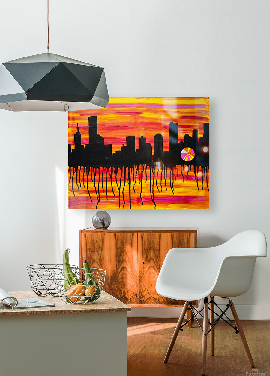 Melting City. Maggie Z  HD Metal print with Floating Frame on Back