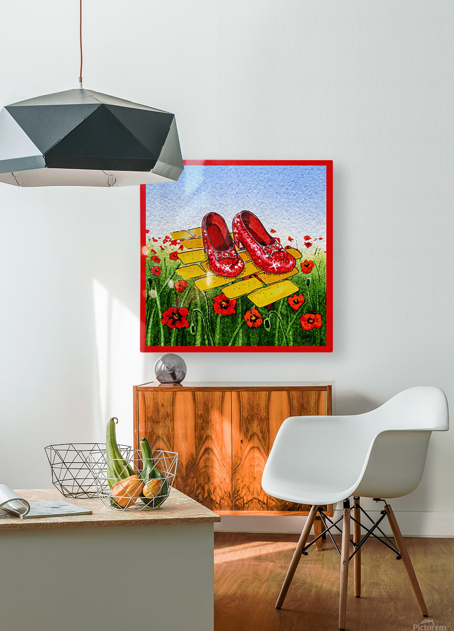 Ruby Slippers Yellow Brick Road Red Poppies Field  HD Metal print with Floating Frame on Back