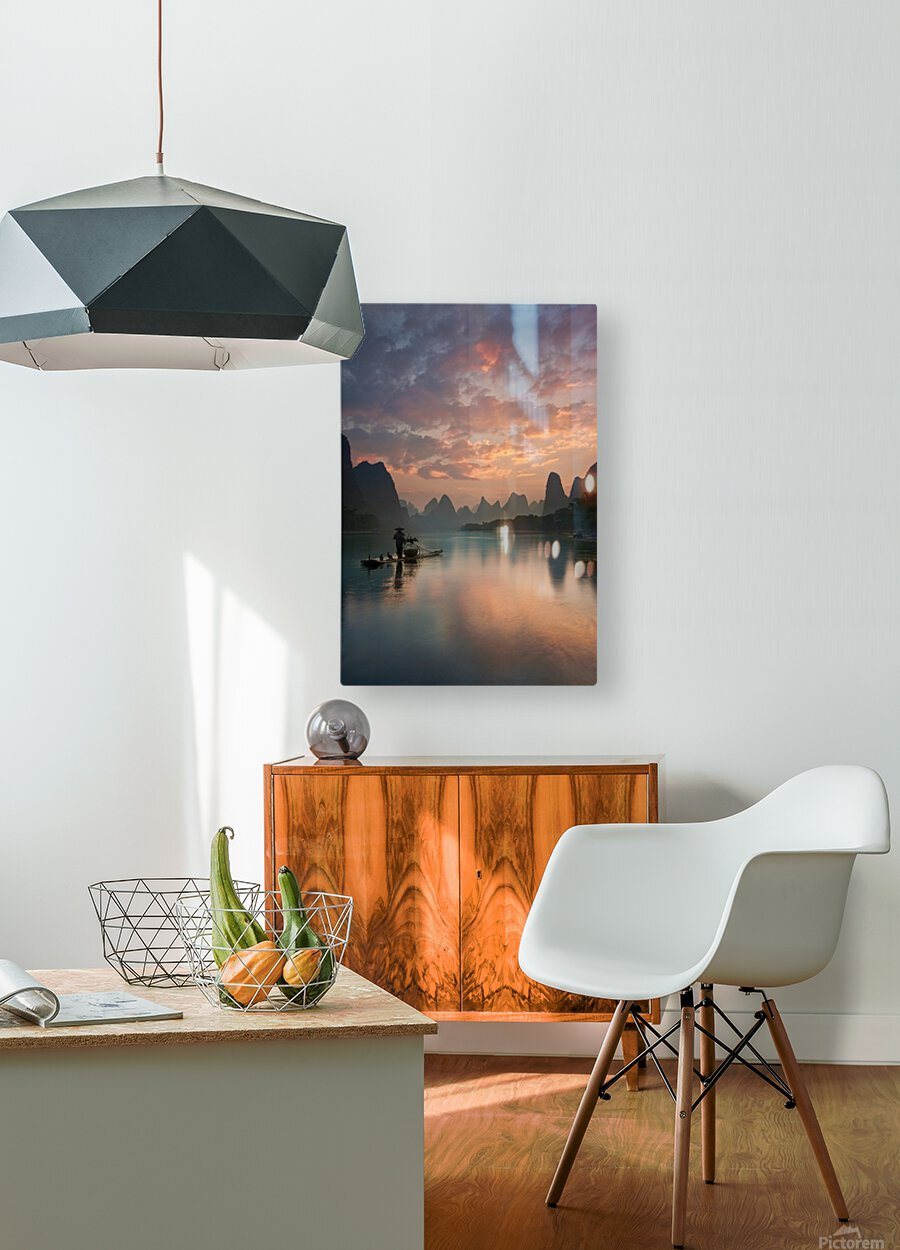 Li River Sunrise  HD Metal print with Floating Frame on Back
